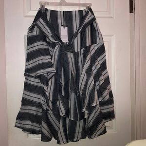 Navy and white striped skirt with tie front.